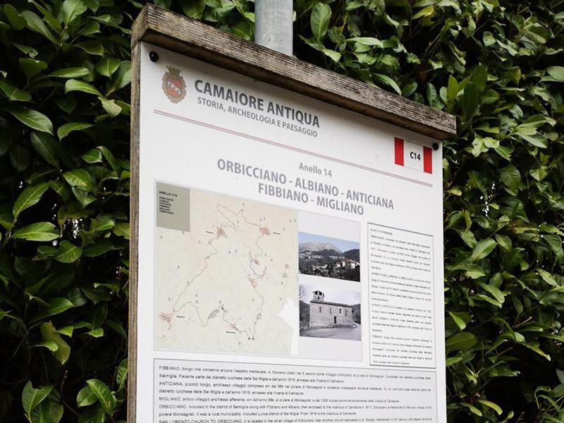 Itinerari - Orbicciano - Anticiana - Fibbiano - Migliano- Orbicciano,  Anello di Camaiore Antiqua