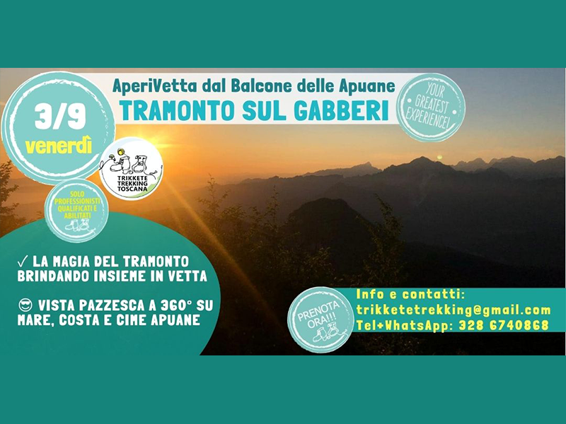 Eventi - AperiVetta dal Balcone delle Apuane - Tramonto sul Gabberi