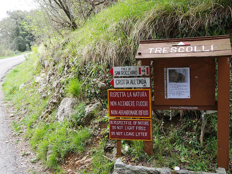 Anello da Trescolli per Foce S. Rocchino, Foce del Pallone e Grotta all'Onda